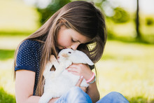 Atractive Girl With Easter Bunny