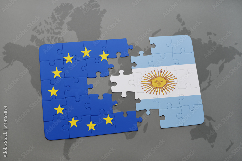 Wandaufkleber puzzle with the national flag of argentina and ...