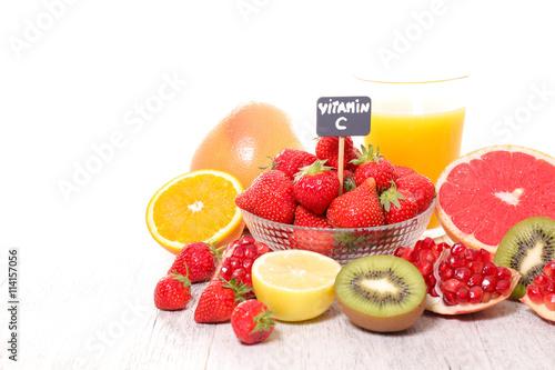 Foto op Canvas Sap assorted vitamin C food