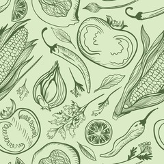Fototapeta Green Vegetarian Vector Pattern
