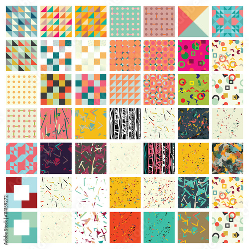 Hundred universal different geometric seamless patterns.