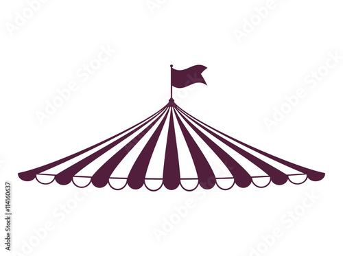 Foto tent icon. Circus and carnival design. Vector graphic
