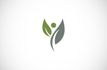 People Leaf Logo Vector