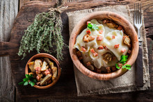Fresh Dumplings With Wild Mushrroms And Sauerkraut