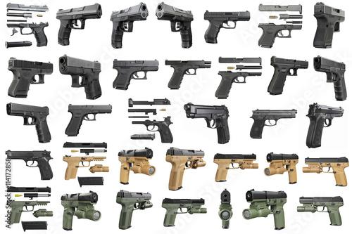 Fotografía  Set guns police, military, black on white background isolated
