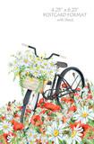 Czarny rower na łące. Ręcznie rysowane obraz akwarela na białym tle. Format pocztówki 4,25 '' 6,25 '' z spadem - 114179000