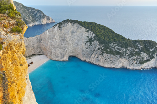 Poster Tropical beach Amazing Panorama of Navagio Shipwreck beach, Zakynthos, Greece