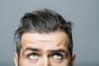 Leinwandbild Motiv male face with scared eyes