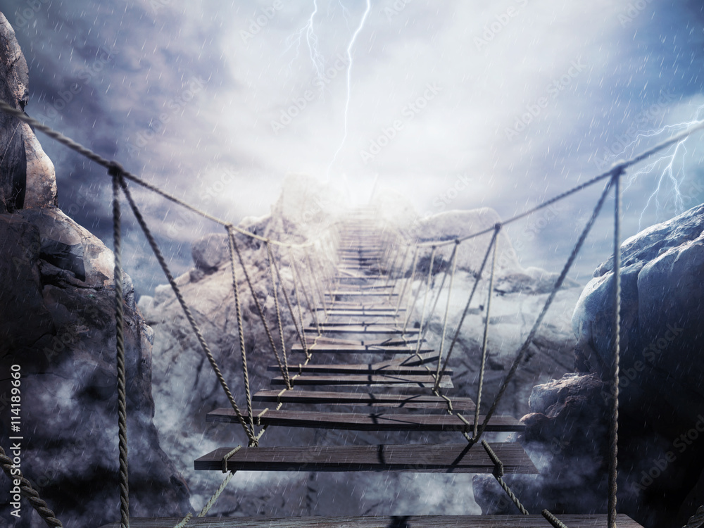 Fototapety, obrazy: 3D niestabilny most podczas burzy