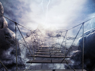 Obraz na Plexi 3D Rendering unstable bridge during a thunderstorm