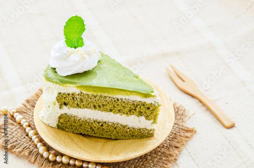 fototapeta na szkło Japanese Matcha Green tea cake
