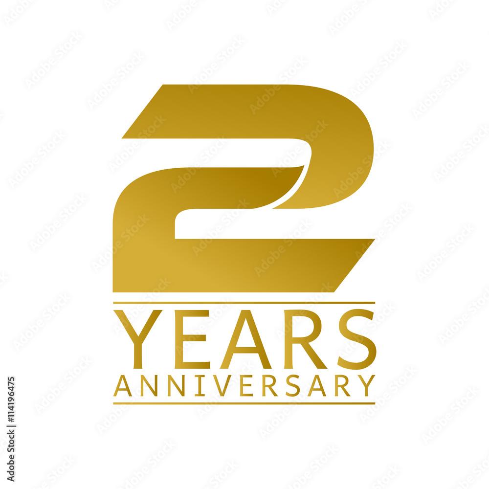 Obraz Simple Gold Anniversary Logo Vector Year 2 fototapeta, plakat