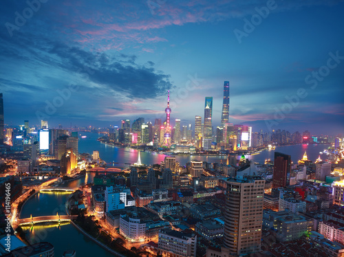 Foto op Aluminium Shanghai Aerial photography at Shanghai bund Skyline of dusk