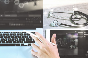 Medical network technology concept. Doctor hand working with ste
