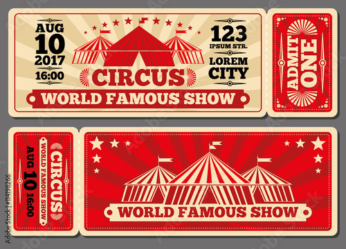 Fotografie, Obraz  Circus magic show entrance vector tickets templates