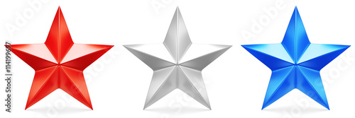 Obraz Red, white, and blue stars - 3D rendering - fototapety do salonu