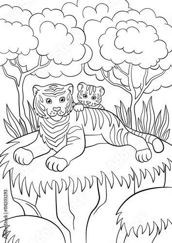 Coloring Pages. Wild Animals. Mother Fox With Her Little Cute Baby ... | 500x354
