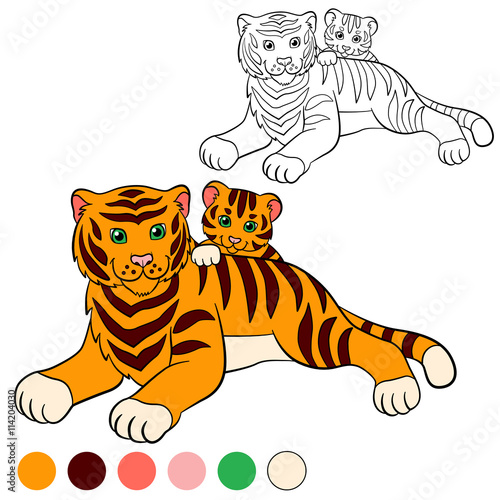 Coloring Page Color Me Tiger Mother With Her Little Cute Baby