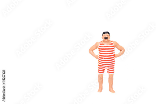 Fotografie, Obraz  Close up of Miniature fat people isolate on white background