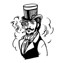 Steampunk Man In Top Hat And Glasses With The Beard Moustache A Smoking Cigarette In Vector Illustration
