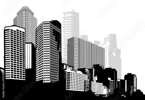 Plakaty czarno białe  black-and-white-panorama-city-vector-art