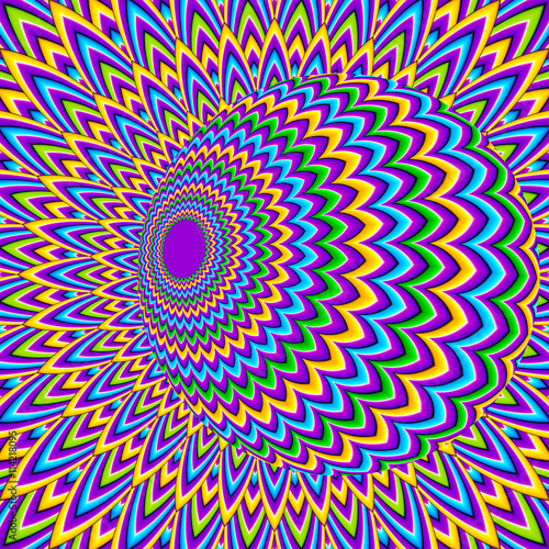 Spoed Foto op Canvas Psychedelic Colorful background with moving ball (optical illusion of movement)