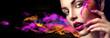 Leinwandbild Motiv Beauty woman with bright color makeup