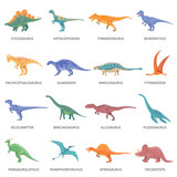 Fototapeta Dino - Dinosaurs Colored Isolated Icons Set