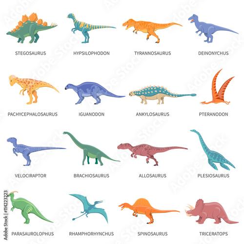 Zestaw kolorowych ikon na białym tle dinozaurów