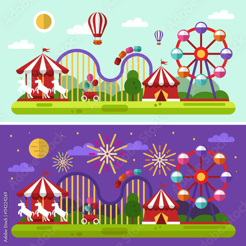 Foto op Aluminium Snoeien Flat design vector day and night landscape illustration of carnival or amusement park with air balloons, sky full of firework lights, carousel, ferris wheel, roller coasters. Festival concept.