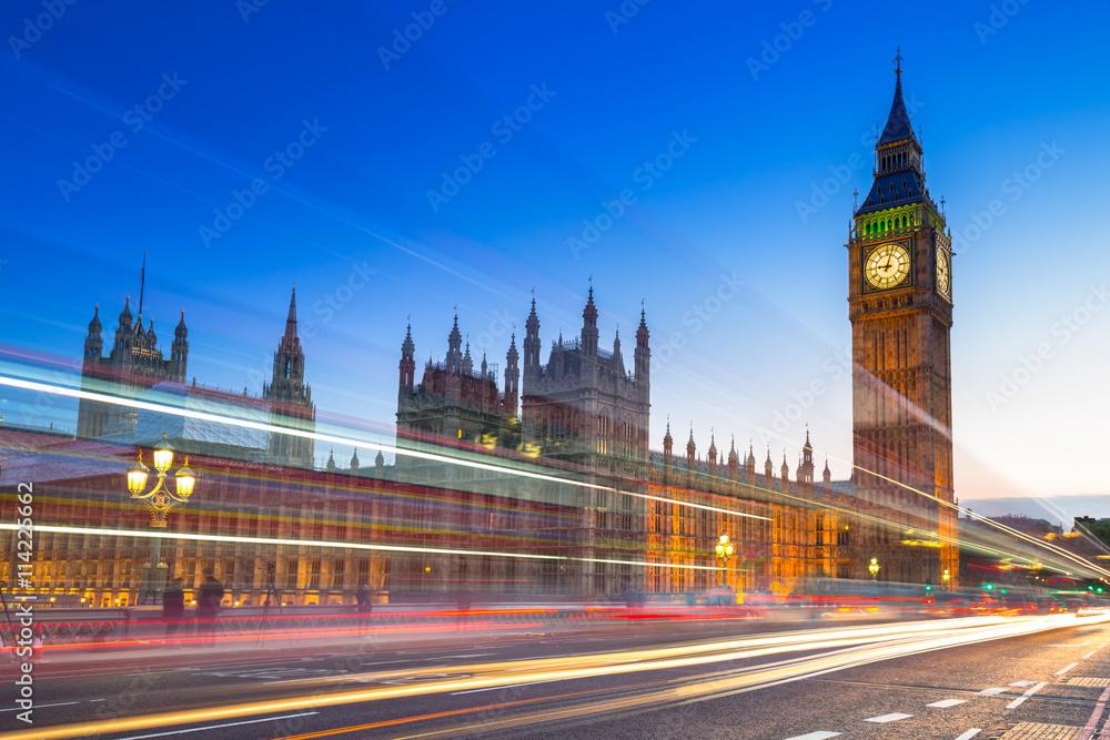 Fototapety, obrazy: Big Ben i Pałac Westminsterski w Londynie w nocy, Wielka Brytania