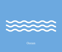 Waves Icon Ocean On A Blue Background