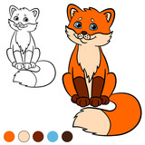 Coloring page. Color me: fox. Little cute baby fox smiles.