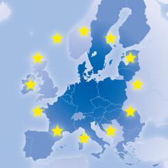 Fototapeta Mapy Europa Karte nach Brexit mit EU-Ländern und Sternen