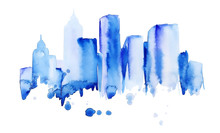 Silhouette Of The City Of New York Watercolor Hand-drawn In Blue Tones, Painted With Splashes Of Watercolor Drops