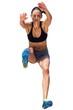 Sportswoman is jumping
