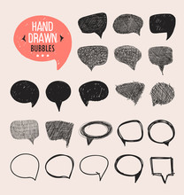 Set Of Hand Drawn Speech Bubbles. Vector Design Elements.