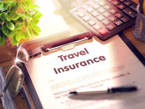 Business Concept - Travel Insurance on Clipboard Canvas Print