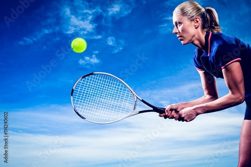 Composite image of tennis player playing tennis with a racket Canvas Print