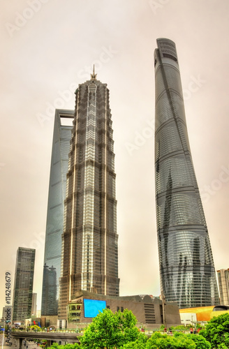 Photo  Shanghai skyscrapers at Lujiazui Financial District