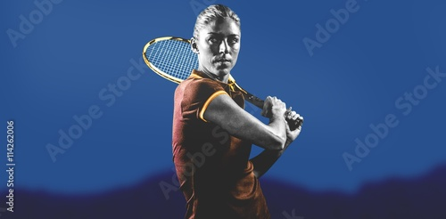 Fotografiet  Composite image of tennis player playing tennis with a racket