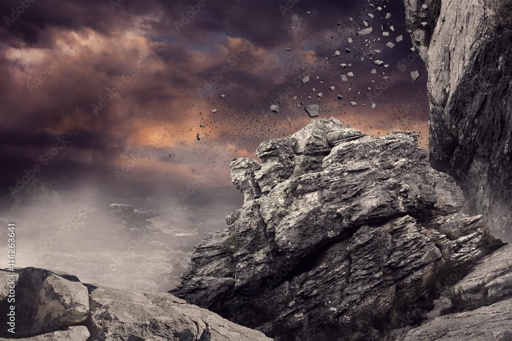 Fototapety, obrazy: Rock crashing down from cliff