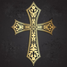 Golden Cross With Floral Ornaments On Grunge Background