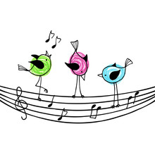 Three Brightly Colored Birds On The Stave With Treble Clef And N