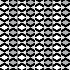 FototapetaGeometric pattern with alternate white grey and black rhombus