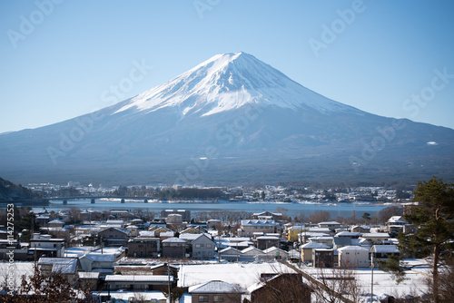 Mount Fuji with village in winter season Canvas Print