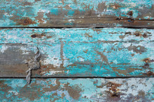 Texture: Old Wooden Planks With Chipping Turquoise Paint