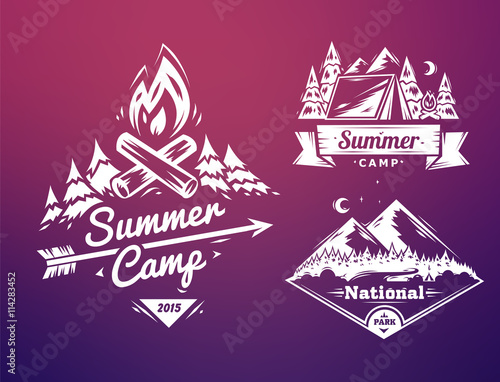 Fotografering Summer camp and national park  typography design on colored background