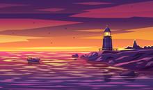 Colorful Lighthouse Illustrati...