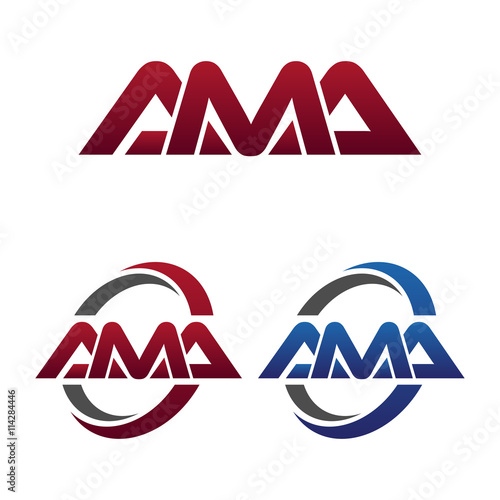 Photo Modern 3 Letters Initial logo Vector Swoosh Red Blue ama